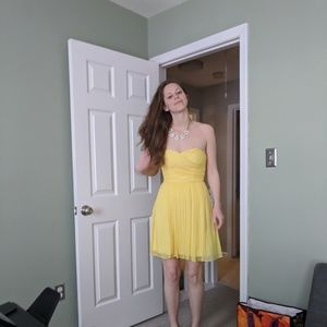 J. Crew yellow bridesmaid dress